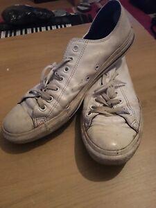 zapatillas retro de piel converse hombres blancas