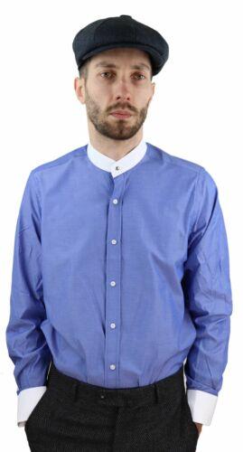 Homme patraque oeillères Polka shirt col amovibles Penny bouton Nehru Sans Col