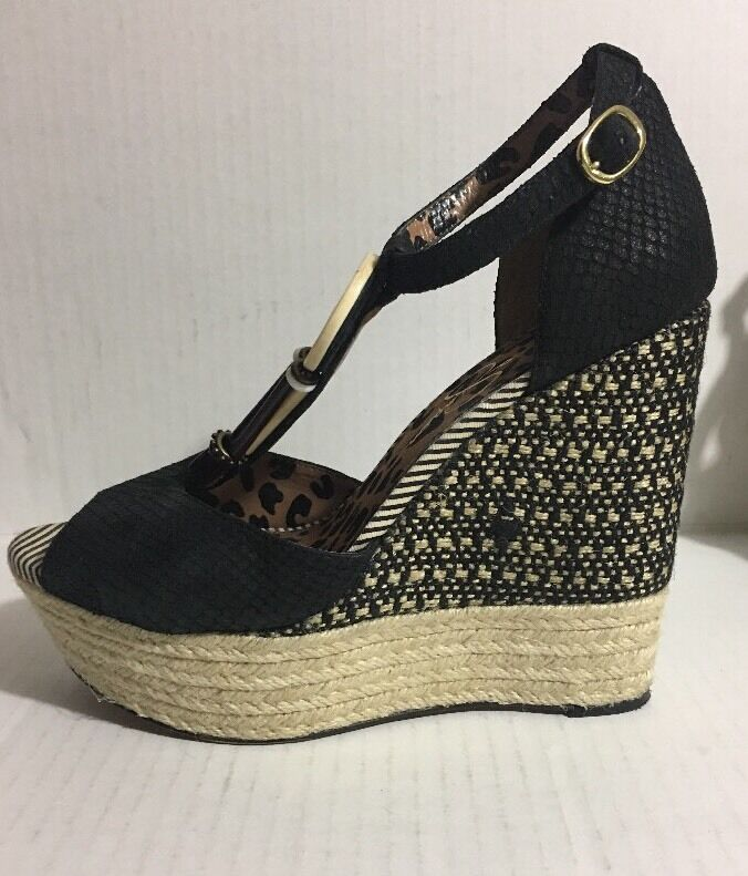 Jessica Simpson Women's Cyrille Wedge Black Sandal Size 10M