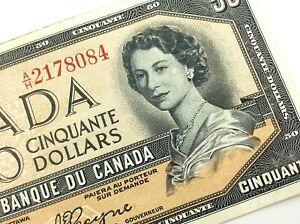 1954-Canada-50-Fifty-Dollar-Circulated-AH-Devil-Face-Beattie-Coyne-Banknote-R185