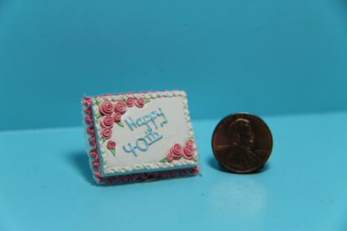 Dollhouse Miniature Happy 40th Birthday Cake with Flowers ~ A1720
