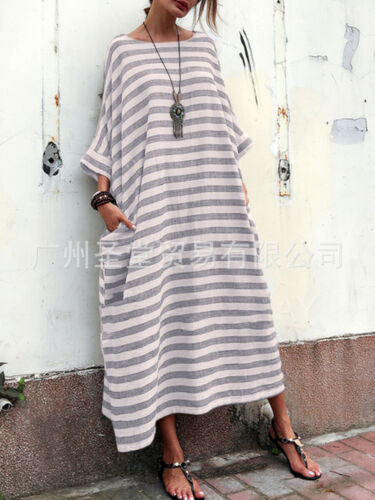 Europe Womens Plus Loose Casual Striped Pocket Dress Maxi Kaftan Crewneck Ycart