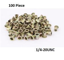 100 Pcs Rivet Nut Tool Kit Zinc Plated Carbon Steel Rivnut Insert Nutsert 1/4-20