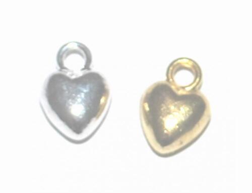 50 o 100 Oro Plateado hinchado corazón encantos Craft 10