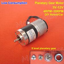 Micro Planetary Gear Motor DC 3V 5V 12V 4RPM-20RPM Low Consumption for Robot Car