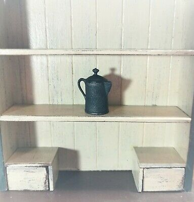 Dollhouse Miniature Coffee Pot Faux Cast Iron for 1:12 Scale Painted Metal