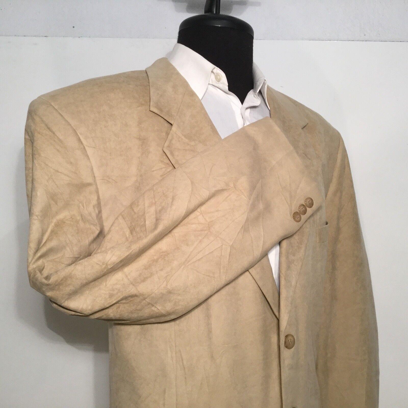 Bert Pulitzer Collectors Edition Mens Sport Coat Blazer Suede 46L 3-button 0349