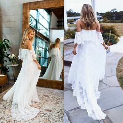 Sexy Maternity Photography Prop Maternity Dresses Lace Maxi Gown Off Shoulder Ebay