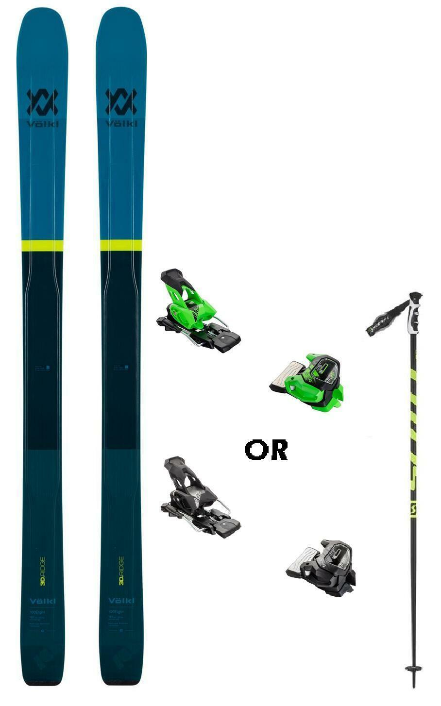 Volkl 100Eight snow skis 181cm w-bind (POLES incl at BuyItNow) NEW 2019