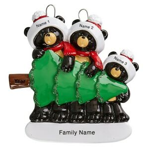 Personalized Christmas Ornament Black Bears With Tree Family Of 3 Holiday Gift Ebay