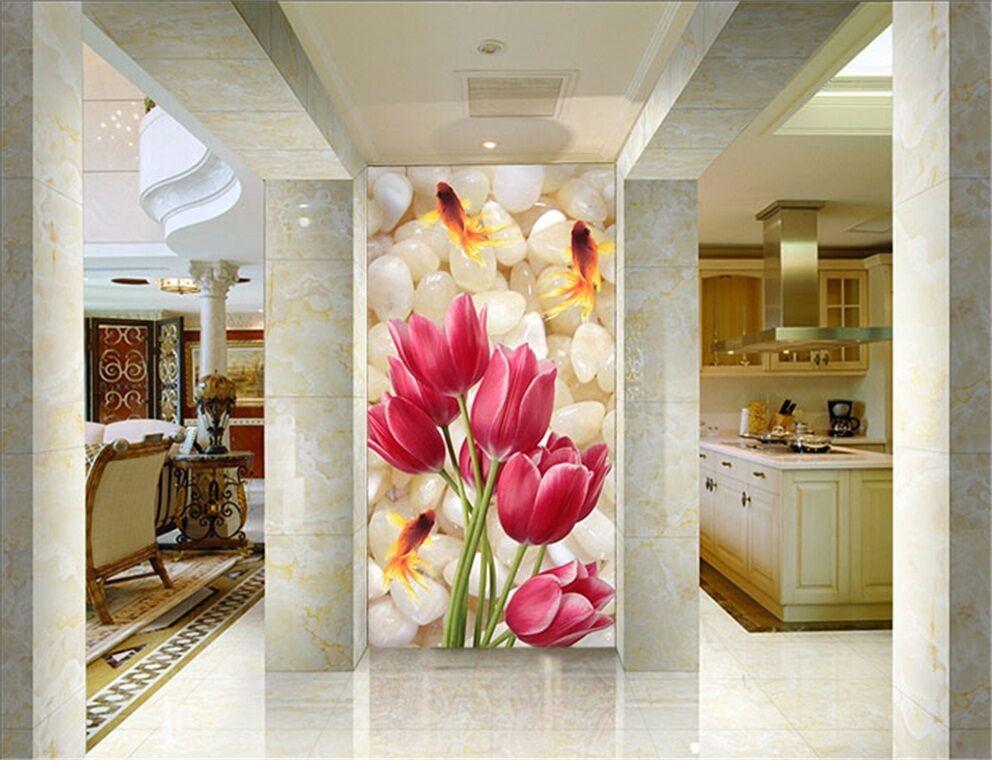 3D Poisson Fleur 2 Photo Papier Peint en Autocollant Murale Plafond Chambre Art