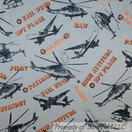 BonEful Fabric FQ Cotton Quilt Black Orange Gray Airplane Air Force Military Spy