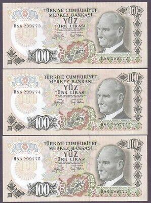 TURKEY 100 Lira 1972 P-189 UNC Uncirculated