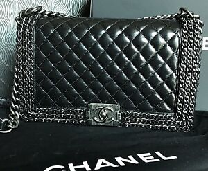 436df4083aede6 Details about New CHANEL Black Leather New Medium Triple Quilted Woven Chain  Chains Boy Bag CC