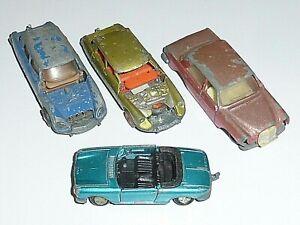 Lot Epaves MAJORETTE CITROËN DS PEUGEOT 204 MERCEDES 280 Vintage 1/65 Model Cars