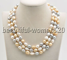 Z8543 18mm White Gray Yellow Baroque Freshwater PEARL NECKLACE 50inch