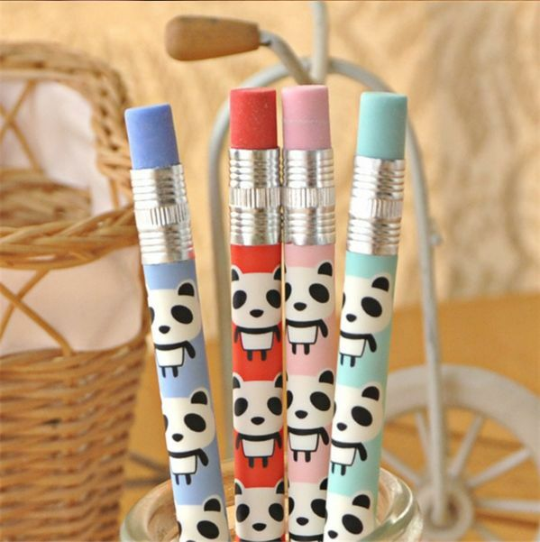 Cute Panda Mechanical Pencil Eraser Novelty Gift Kawaii Pen Case Stationery