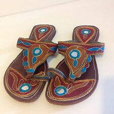 Leather Sandals Flip Flops Ethnic Made In India Bo Ho Embroidered