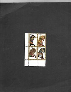 1995 32 C Carrousel De Chevaux, bloc de 4 Scott 2976-79 Comme neuf F/très fine jamais Charnière Original Gum