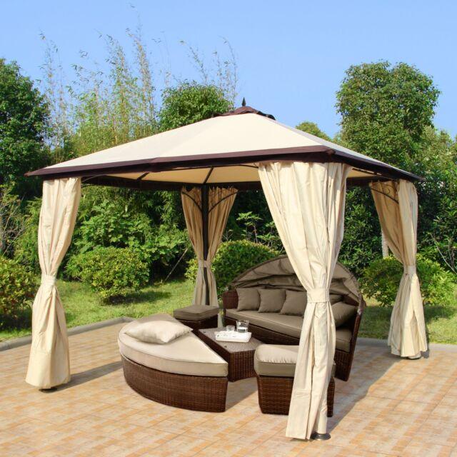 outlet store d0264 6cb03 Gazebo 3m Garden Outdoor Patio Canopy Party Tent Pavilion Gazebos Beige  Wedding Ella