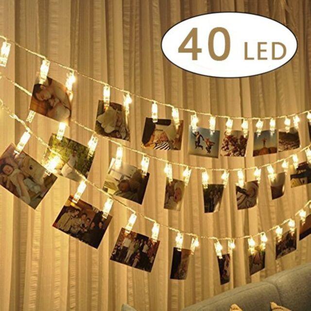 40 Photo Clips 5M LED String Warmweiß Lights Lichterkette Fotclips Klammer DE