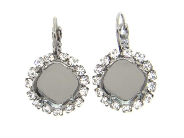 Empty Setting Earrings with Crystal Rhinestones 12mm Square Cushion Cut 1 Pair