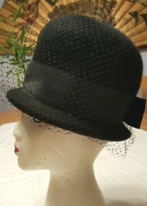 VTG-Henry-Pollak-NY-Ritz-Hat-100-Wool-Black-Net-Grosgrain-Ribbon-Bow-Costume