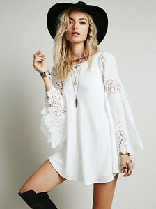 Isabella White Lace Bell Sleeve Mini Dress Boho People ...