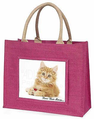Ingwer Kätzchen 'Liebe, die Sie Mama' Große Rosa Einkaufstasche Weihnachten Vor,