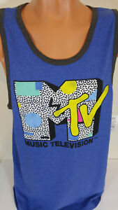 f6a3463072c4d MTV 2XL Music Television Mens Tank Top Muscle Shirt Blue 2018 Retro ...