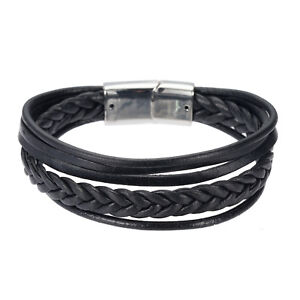 Fashion-Men-Simple-Jewelry-Bracelet-Bangle-Black-Brown-Concise-Braided-Leather