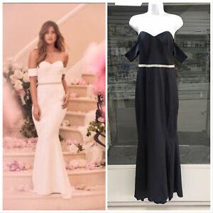 Lipsy-Women-Bridal-Navy-Bandeau-Diamond-Fishtail-Maxi-Dress