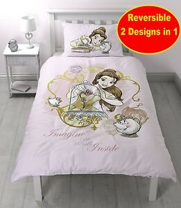 princesse disney belle et la b te simple ensemble housse de couette ebay. Black Bedroom Furniture Sets. Home Design Ideas