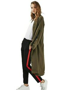 Topshop-Khaki-Crepe-Trench-Duster-Jacket-Military-Bomber-Versatile-Coat-8-to-16
