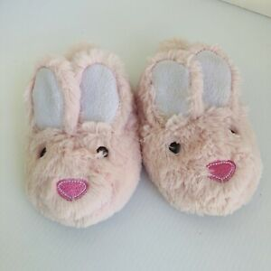 Laura Ashley Baby Kids Fuzzy Pink Bunny Slippers Big Ears Toddler Girl Sz S 5/6