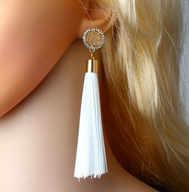 Crystal Rose Tassel Tassle Earrings Uk 6 Colours