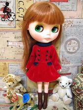 C.C.T Blythe Dal Licca doll double breasted velvet dress (Red) c-473