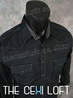 Mens Western Fashion Snap-up Shirt Black Micro Squares Pattern Roar With Class