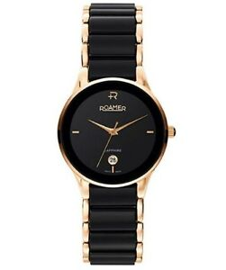 Roamer-Gents-039-Ceraline-Saphira-Black-Ceramic-Gold-Tone-Watch