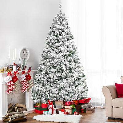 BCP 6ft Snow Flocked Hinged Artifical Pine Christmas Tree w/ Metal Stand