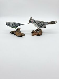 2-Boxer-amp-Ashfield-Folk-Art-Wood-Sculputures-Birds-On-Drift-Wood