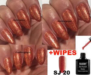 Image Is Loading Bluesky Sj20 Bronze Orange Copper Shimmer Nail Gel