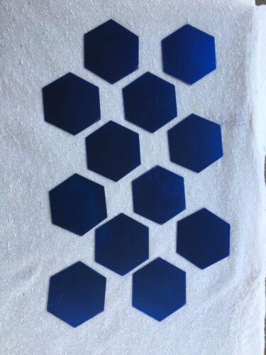 NEW 12pc Blue Reflective Mirror Hexagon Wall Art Decor Acrylic Decal Stickers