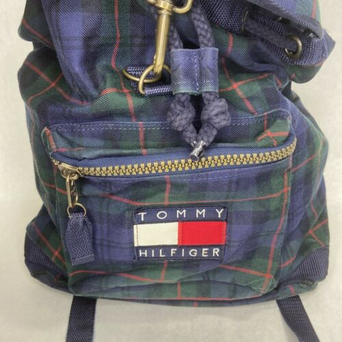 Vintage 90s Tommy Hilfiger Drawstring Backpack Bag