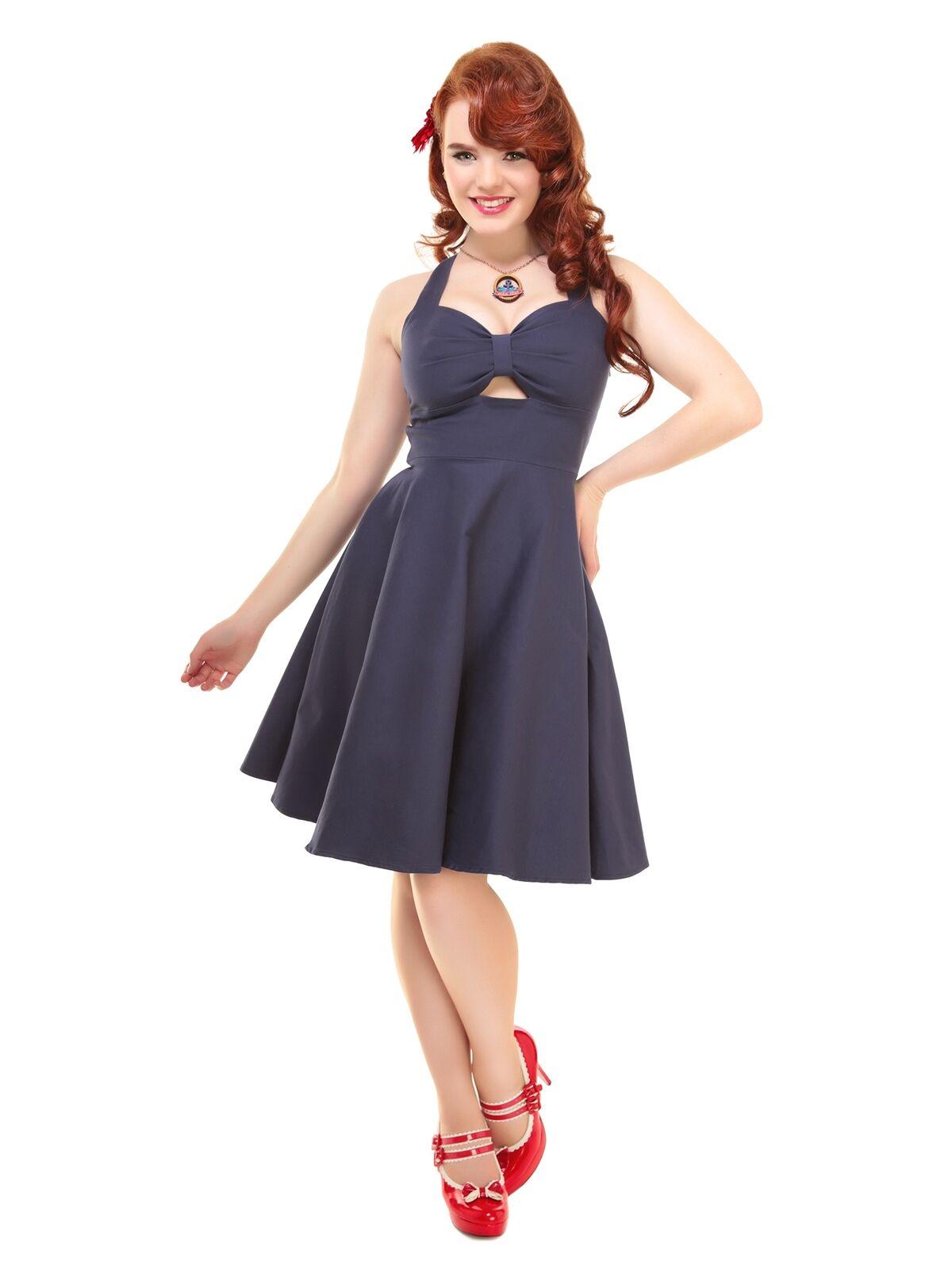 COLLECTIF VINTAGE NAVY blueE COLETTE SWING DRESS SZ 8-22 1950S FLARED
