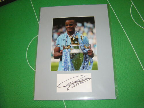 2 x Vincent Kompany Signed Manchester City Champions Mounts 2012 & 2014!