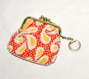 Vtg-Beaded-Coin-Purse-Paisley-Orange-Yellow-Key-Ring-Kisslock-Closure-2-Sections