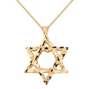 14k-Yellow-Gold-Textured-Star-of-David-Pendant-Necklace