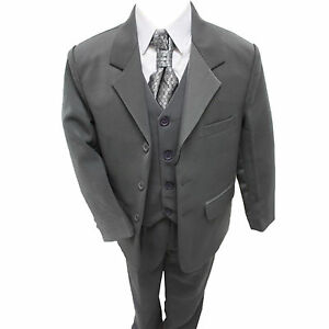 Boys-Grey-Suit-5-Piece-Wedding-Page-Boy-Baby-Formal-Party-Smart-0-3-14-yrs
