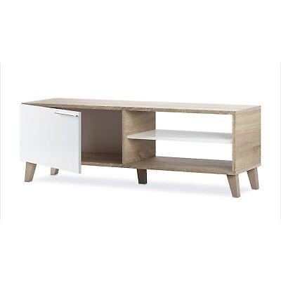 Modulo de salon comedor de TV mueble color Roble Canadian y Blanco Brillo, Nara